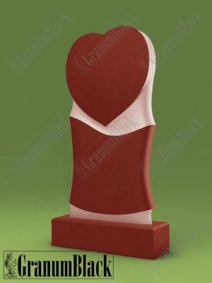 Памятник Сердце из малинового кварцита