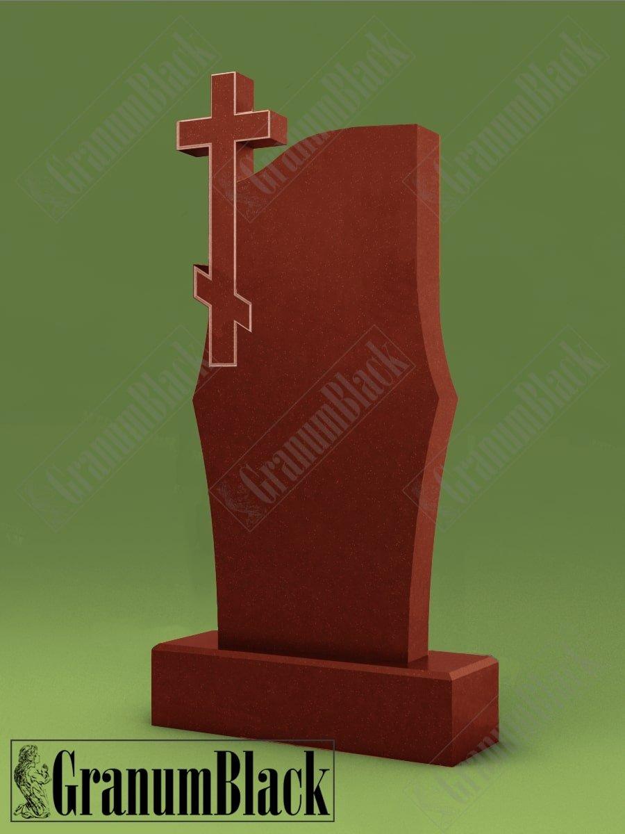 Памятник с крестом из малинового кварцита